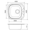 Kép 2/2 - Kevmil KM-109 Beépíthető Rozsdamentes Mosogatótálca Egymedencés  460 x 480 mm