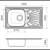 Kép 2/2 - Kevmil KM-101 Beépíthető Rozsdamentes Mosogatótálca Egymedencés Csepptálcával 760 x 435 mm