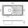 Kép 2/2 - Kevmil KM-121 Beépíthető Rozsdamentes Mosogatótálca, Egymedencés Csepptálcával 860 x 435 mm
