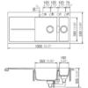 Kép 3/3 - Schock Horizont D-150 Cristadur SILVERSTONE Gránit Mosogató Kétmedencés Csepptálcával 1000 x 500 mm